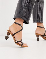 Who What Wear Ryleigh strappy sandals with heel interest in black