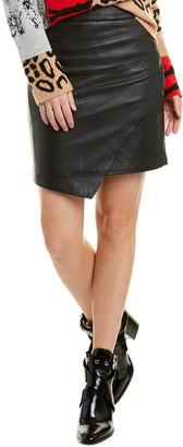 Zadig & Voltaire Lisse Asymmetric Leather Mini Skirt
