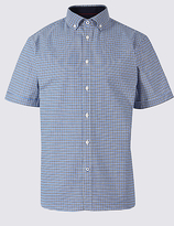 Blue Harbour Cotton Rich Checked Shirt With Stretch