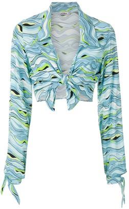 AMIR SLAMA Wave-Print Cropped Shirt