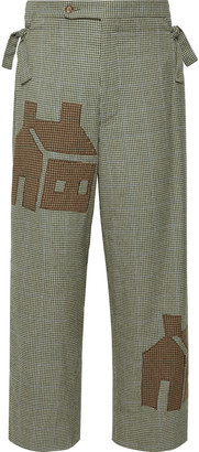 Wide-Leg Appliqued Houndstooth Wool Trousers