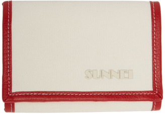 Sunnei White and Red Canvas Wallet