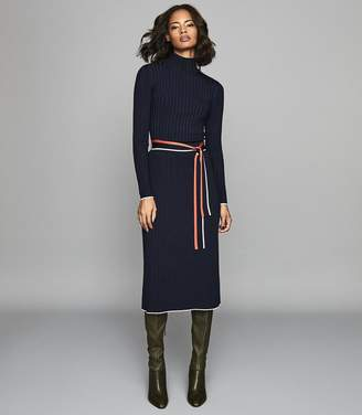Reiss MIA KNITTED KNIFE PLEATED SKIRT Navy