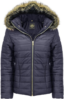 Generation Fashion New Ladies Women Shiny Wet Look Quilted Puffer Fur Hooded Bubble Zip up Jacket Coat Top S-XL[Navy Blue M]
