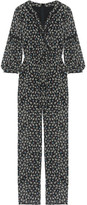 Anna Sui Lace-trimmed Floral-print Silk-chiffon Jumpsuit - Black