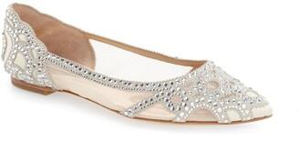 Badgley Mischka Collection Gigi Crystal Pointy Toe Flat