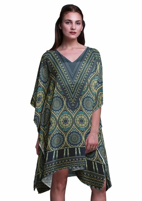 Phagun Blue Geometric Tribal Ladies Kaftan Holiday Loungewear Midi Dress Beach Coverup-S-L