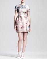 Floral-Print Mikado Short-Sleeve Dress