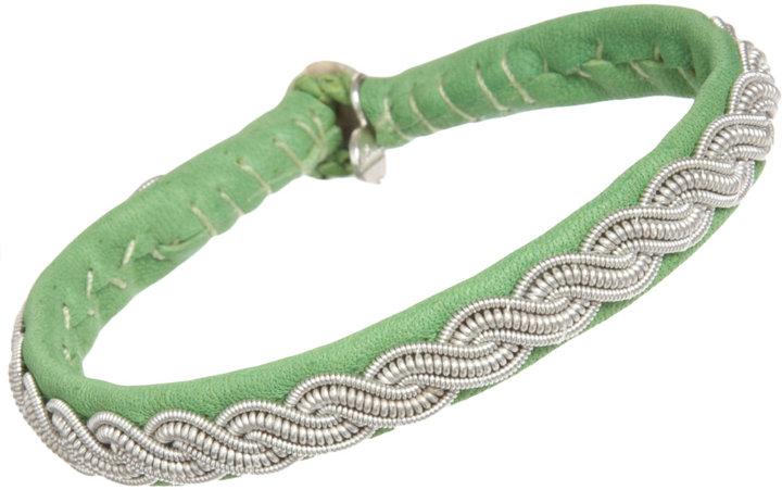 Maria Rudman Narrow Leather & Pewter Embroidered Bracelet