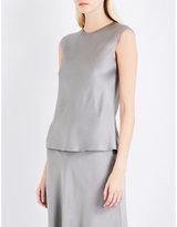 Protagonist Ladies Grey Flared Concealed Zip Sleeveless Flared-Hem Satin Top