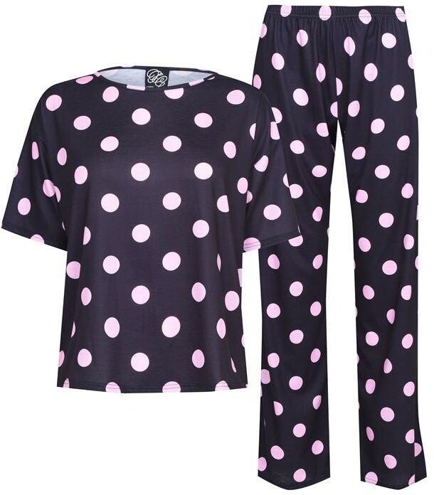 Thumbnail for your product : Fabric Navy and Pink Polka Dot Printed Pyjama Set