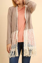 Umgee USA Boho Lace-Trimmed Cardigan