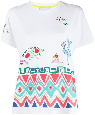 Mira Mikati geometric tribal embroidered T-shirt
