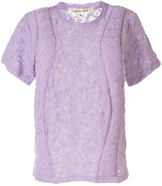 Comme des Garcons Floral Lace Embroidered Contrast Panel Top