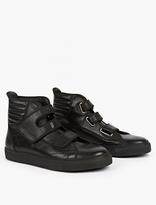 Raf Simons Black Leather Hi-Top Sneakers