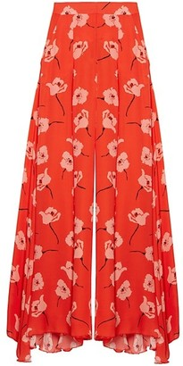 Carolina Herrera Floral Silk Wide-Leg Pants