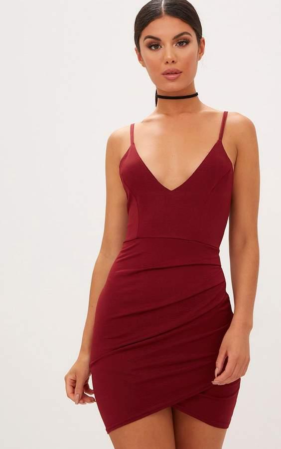PrettyLittleThing Burgundy Strappy Plunge Wrap Skirt Bodycon Dress
