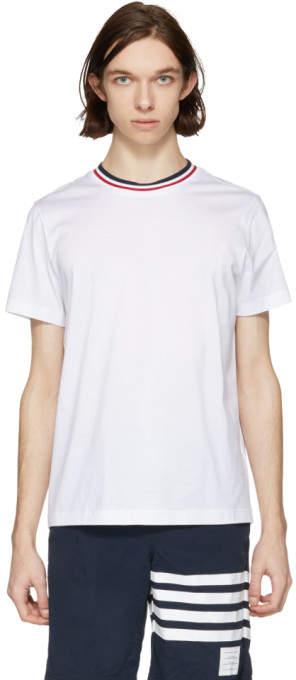Moncler White Tricolor Collar T-Shirt