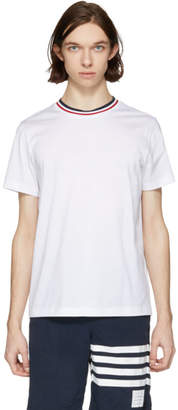 Moncler White Tricolor Collar T-Shirt