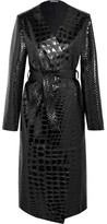 Attico Snake And Crocodile-effect Glossed-leather Trench Coat