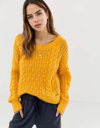 Abercrombie & Fitch cable knit jumper-Yellow
