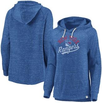 Women's Fanatics Branded Blue New York Rangers Plus Size Faded Script Pullover Hoodie