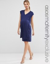 Asos Dress With Drape Front Dress And V Neck