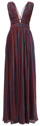 Jonathan Simkhai Striped Plunging V-neck Pleated-lame Maxi Dress - Multi