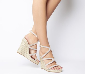 Office Honeydew Glam Strappy Wedges Nude Diamante