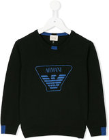Armani Junior logo front sweatshirt - kids - Cotton/Wool - 4 yrs