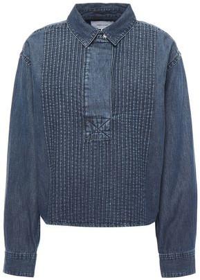 Current/Elliott Pintucked Denim Shirt