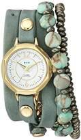 La Mer Women's Quartz Metal and Leather Casual Watch, Color:Green (Model: LAMERDEL1011)