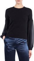 Akris Round-Neck Chiffon-Sleeve Knit Cashmere-Blend Blouse