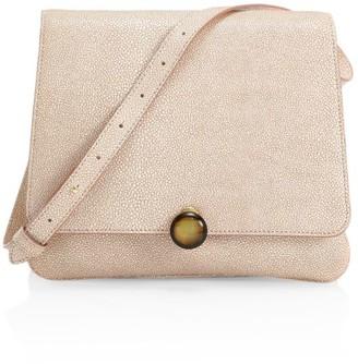 BY FAR Margot Stingray-Embossed Leather Shoulder Bag