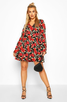 boohoo Plus Floral Rose Tiered Smock Dress
