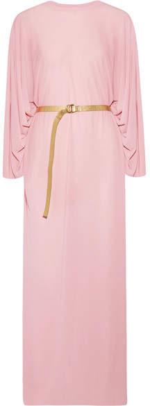 Norma Kamali Belted Jersey Maxi Dress - Baby pink