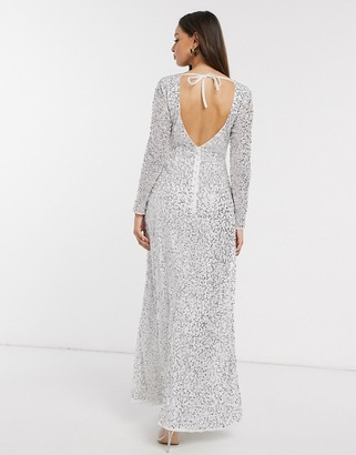 Little Mistress Bridal Pandora sequin maxi dress in white and silver