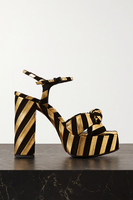 Saint Laurent Bianca Knotted Suede And Metallic Textured-leather Platform Sandals - Black