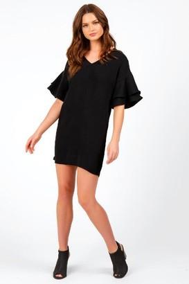 francesca's Nena Flutter Sleeve Dress - Black