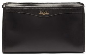 Gucci Logo-print Leather Wash Bag - Mens - Black