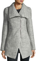 Dex Cutaway Wool-Boucle Coat