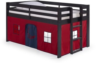 Alaterre Jasper Twin Junior Loft Bed, Espresso Frame and Gray Camouflage Bottom Playhouse Tent