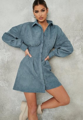 Missguided Tall Blue Pleated Waist Shirt Cord Dress