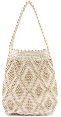 Antonello Tedde Linen And Cotton Diamond-weave Tote Bag - Beige Multi