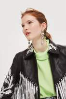 Topshop Silver fringed leather jacket