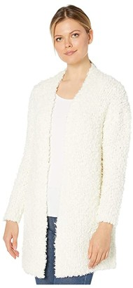 Vince Camuto Long Sleeve Poodle Yarn Open Front Cardigan (Antique White) Women's Clothing