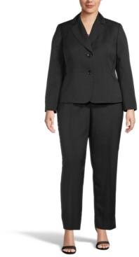 Le Suit Plus Size Mini-Crosshatch Pantsuit