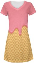 Old Glory Pink Melting Ice Cream Cone All Over Juniors V-Neck Dress