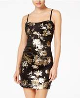 Teeze Me Juniors' Metallic Floral Bodycon Dress
