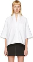 R 13 White Cropped Big Oxford Shirt